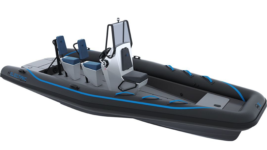 Electric Coach Boat - Pulse 63 RIB - RS Electric Boats - Black Front View