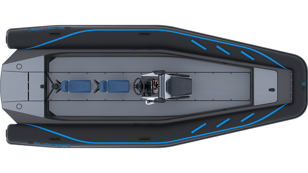 Electric Coach Boat - Pulse 63 RIB - RS Electric Boats - Black Plan View
