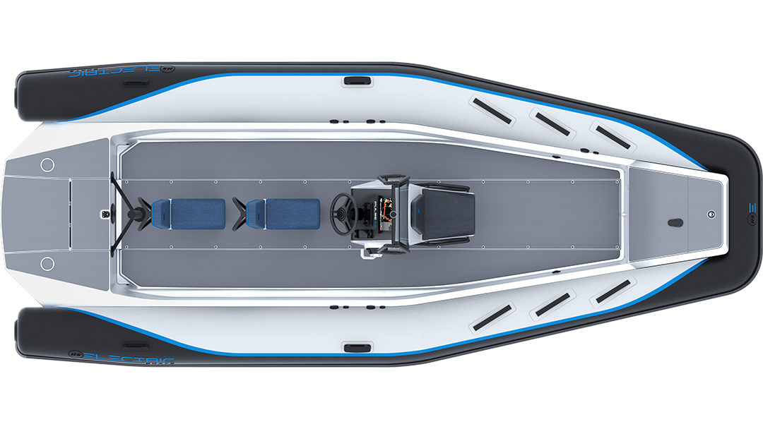 Electric Coach Boat - Pulse 63 RIB - RS Electric Boats - Black & White Plan View