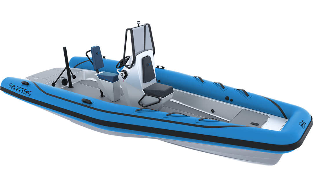 Electric Coach Boat - Pulse 63 RIB - RS Electric Boats - Bright Blue Front View