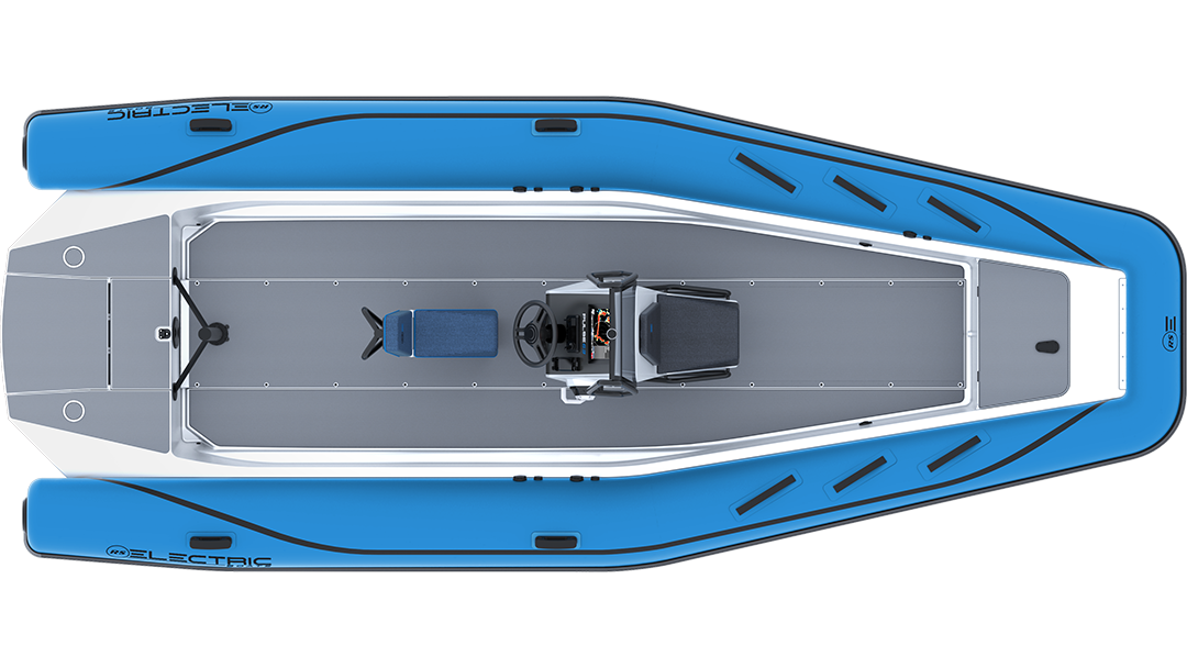 Electric Coach Boat - Pulse 63 RIB - RS Electric Boats - Bright Blue Plan View