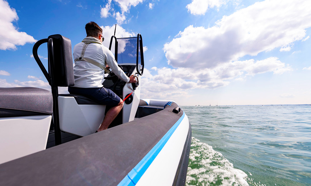 Electric Commercial Boat - Pulse 63 RIB - RS Electric Boats - Rear Side View Kill Cord
