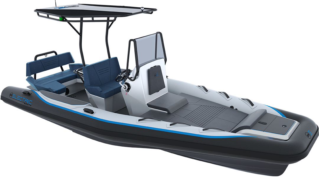 Electric Leisure Boat - Pulse 63 RIB - RS Electric Boats - Black & White Front View With Biminy