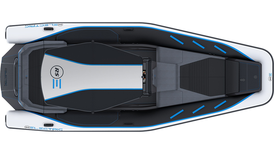 Electric Leisure Boat - Pulse 63 RIB - RS Electric Boats - Black & White Plan View With Bimini