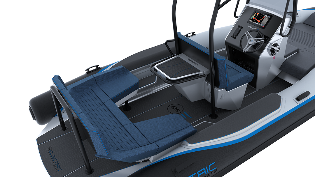Electric Leisure Boat - Pulse 63 RIB - RS Electric Boats - Black & White Rear Close Up View With Bimini