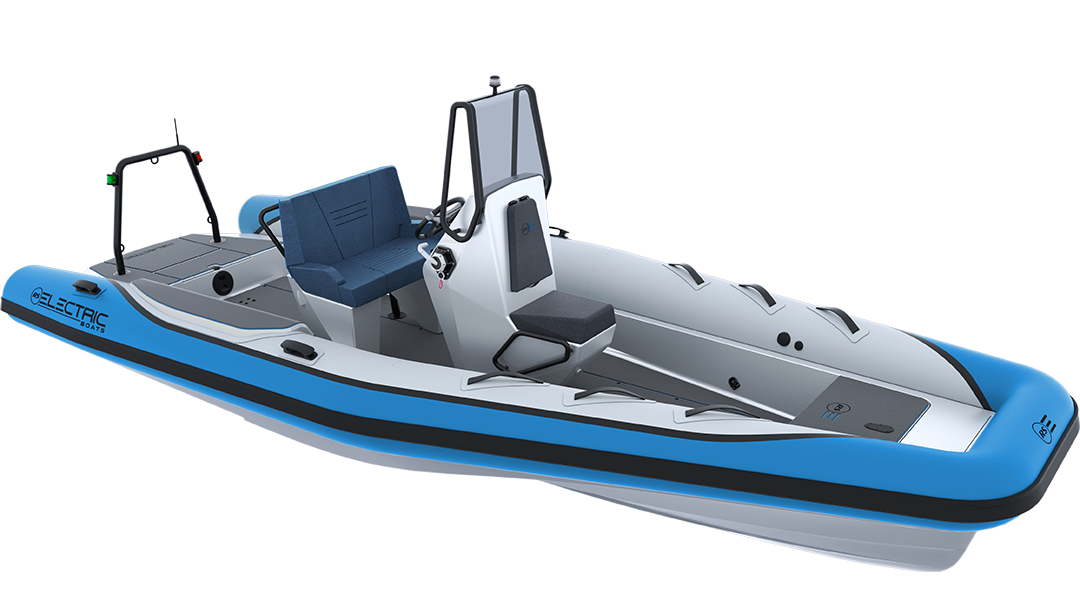 Electric Leisure Boat - Pulse 63 RIB - RS Electric Boats - Bright Blue Front View