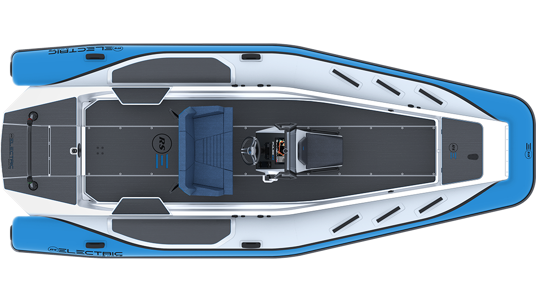 Electric Leisure Boat - Pulse 63 RIB - RS Electric Boats - Bright Blue Plan View