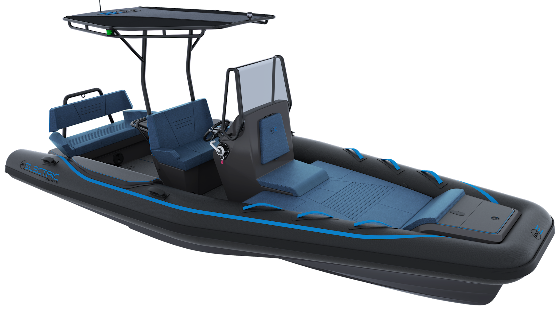 Electric Leisure RIB - RS Electric Boats - Black - Front View