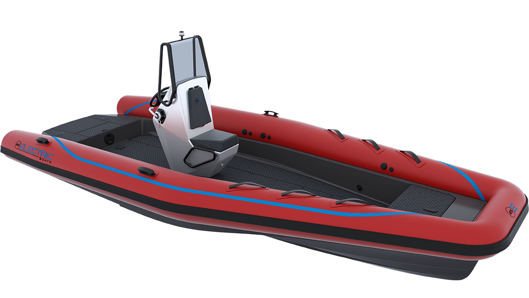 Electric Work Boat - Pulse 63 RIB - RS Electric Boats - Red Front View