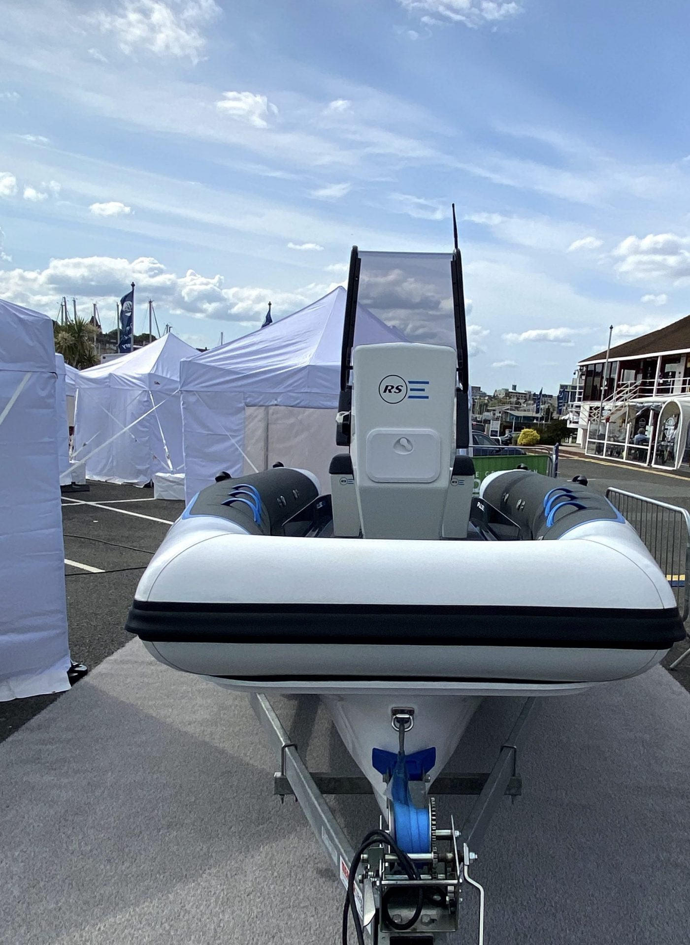 Bow of Pulse 63 Electric RIB at Green Tech Boat Show 2021